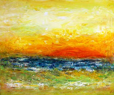 Abstrakt solnedgang (60x50 cm) kr. 1.800