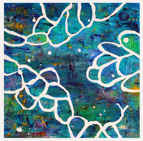 Maleri der forestiller en abstrakt havbund | 20x20 cm